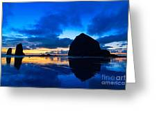 Last Light - Cannon Beach Sunset With Reflection In Oregon The Coast Greeting Card