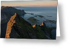 Last Light Illuminates Mountain Ridge Greeting Card