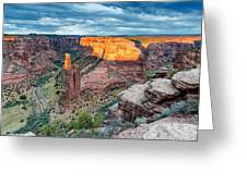 Last Light On Spider Rock Canyon De Chelly Navajo Nation Chinle Arizona Greeting Card