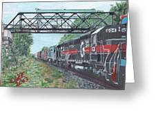 Last Train Under The Bridge Greeting Card by Cliff Wilson