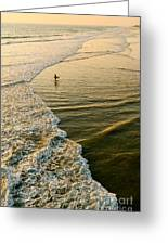 Last Wave - Lone Surfer Waiting For The Perfect Wave In Huntington Beach Greeting Card