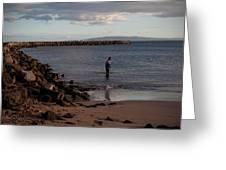 Late Afternoon Angler - Maalaea-maui Greeting Card