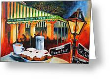 Late At Cafe Du Monde Greeting Card