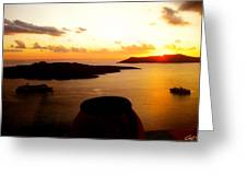 Late Sunset Santorini  Island Greece Greeting Card