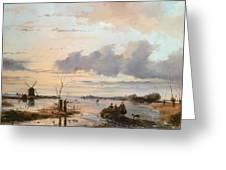 Late Winter In Holland Greeting Card by Nicholas Jan Roosenboom