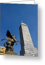 Latin American Tower And Statue Greeting Card
