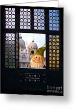 Laughing Gnome In Venice Greeting Card