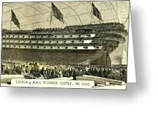 Launch Of Hms. Windsor Castle 140 Guns 1852 Greeting Card