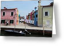 Laundry Day In Burano Greeting Card