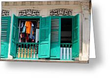 Laundry Hanging Seen Through Open Wood Shutter Windows Singapore Greeting Card