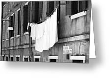 Laundry IIi Black And White Venice Italy Greeting Card
