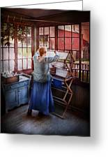 Laundry - Miss Lady Blue  Greeting Card by Mike Savad