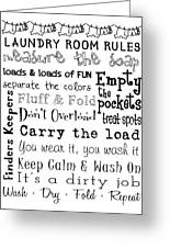 Laundry Room Rules Poster Greeting Card