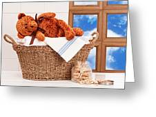 Laundry With Teddy Greeting Card
