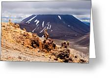 Lava Sculptures And Volcanoe Mount Ngauruhoe Nz Greeting Card