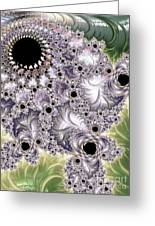 Lavender And Green Fractal Abstract  Greeting Card