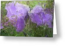 Lavender Blue Iris Garden Greeting Card