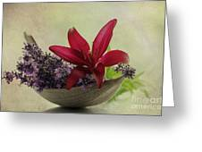 Lavender Boat With Lilies Greeting Card