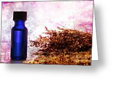 Lavender Essential Oil Bottle Greeting Card by Olivier Le Queinec