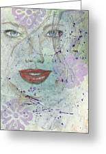 Lavender In Red Lipstick Greeting Card