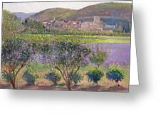 Lavender Seen Through Quince Trees Greeting Card