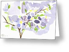 Lavender With Missouri Dogwood In The Window Greeting Card