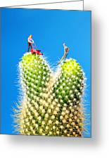 Lawn Mowing On Cactus Greeting Card