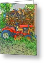 Lawn Tractor And Wood Pile Greeting Card