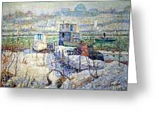 Lawson's Boathouse -- Winter -- Harlem River Greeting Card