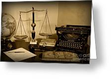 Lawyer - The Lawyer's Desk In Black And White Greeting Card