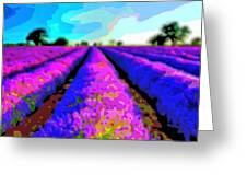 Layer Landscape Art Lavender Field Greeting Card