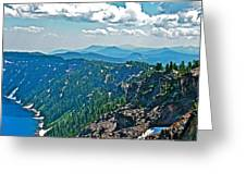 Layers Of Mountains From Watchman Overlook In Crater Lake National Park-oregon  Greeting Card