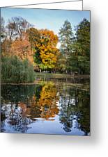 Lazienki Park Autumn Scenery In Warsaw Greeting Card