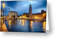 Lazise Harbor Night Scenic Greeting Card