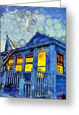 Lazy Daze Beach Cottage On Fourth Of July Greeting Card
