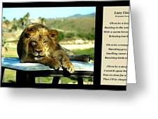 Lazy Lion With Poety Greeting Card
