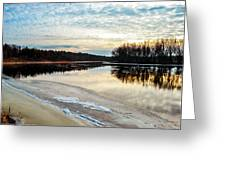Lazy Winter River Greeting Card by Michelle and John Ressler
