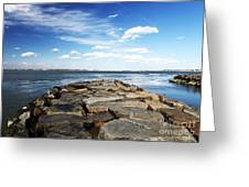 Long Beach Island Bay Rocks Greeting Card