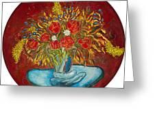 Le Bouquet Rouge - Original For Sale Greeting Card