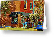 Le Fouvrac Foods Chocolates And Coffee Shop Corner Garnier And Laurier Montreal Street Scene Greeting Card