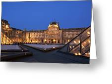 Le Louvre Palace Buildings And Pyramids Greeting Card