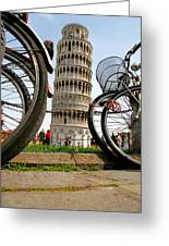 Leaning Bicycles Of Pisa Greeting Card