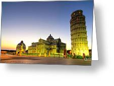 Leaning Tower By Dusk  Greeting Card