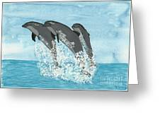 Leaping Dolphins Greeting Card