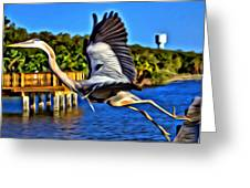 Leaping Egret Greeting Card