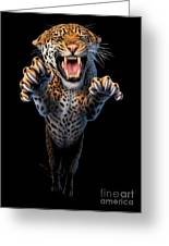 Leaping Leopard Greeting Card