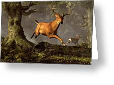 Leaping Stag Greeting Card