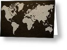 Leather Texture Map Of The World Greeting Card