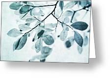 Leaves In Dusty Blue Greeting Card by Priska Wettstein
