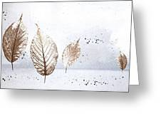 Leaves In Snow Greeting Card
